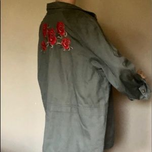 Style&co Green Khaki Jacket with Floral Design XL